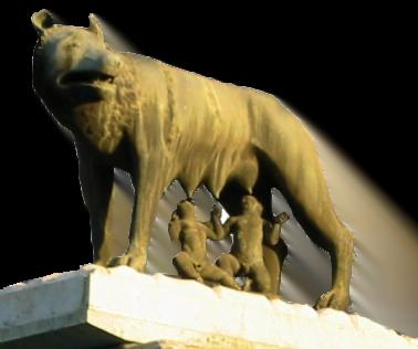 Rómulo y Remo amamantándose de la loba