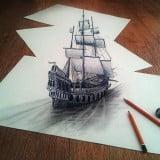 Ilusión óptica barco 3d